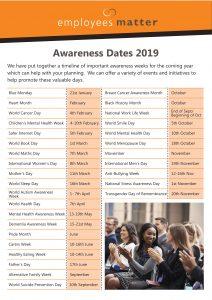 Awareness Dates 2019